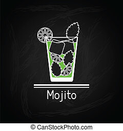 Illustration with glass of mojito for menu cover.