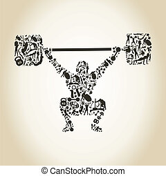 Weightlifter - The weightlifter lifts a bar. A vector...