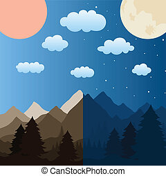 Mountains - The sun and the moon over mountains. A vector...