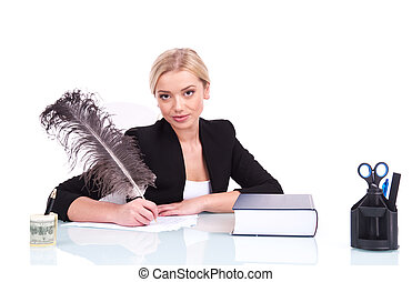 Young businesswoman or teacher working at her desk beautiful...
