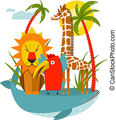 African Animals - Giraffe whale lion parrot and palm. Vector...