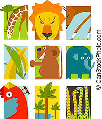 Flat African Animals Symbols Set - Giraffe lion elephant...