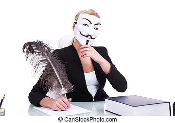 Young businesswoman working on white background and wearing...