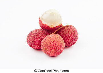 Fresh lychees with leaf isolated on white background