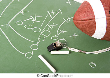 Football Play on Chalkboard - A diagram of a football play...