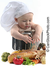 Cute Chubby Baby Chef in a Cooking Pot Looking Downwards