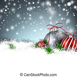 Winter background with christmas balls - Christmas...