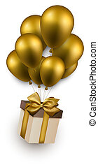 Gift box on golden balloons. - Gift box with golden bow...