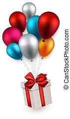 Gift box on colorful balloons. - Gift box with red bow...