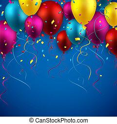 comemorar, fundo, balões