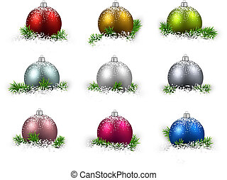Set of realistic color christmas balls. - Colorful set of...