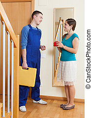Service worker with a woman
