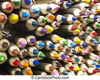 Colored pencils sale in San Telmo Market, Buenos Aires,...