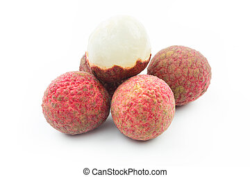 Lychee, Fresh lychees on white background