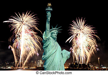 The Statue of Liberty and 4th of July fireworks in NYC