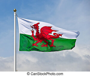 Welsh Flag - The welsh flag, a red dragon on a green and...