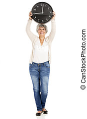 Elderly woman holding a clock, isoalted on white background