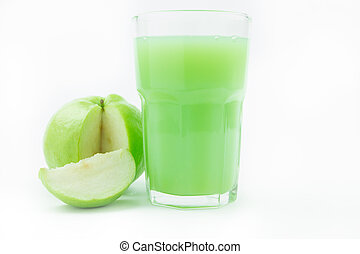 Fresh guavas and guava juice on white background