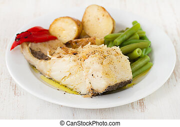 codfish with potato and green beans