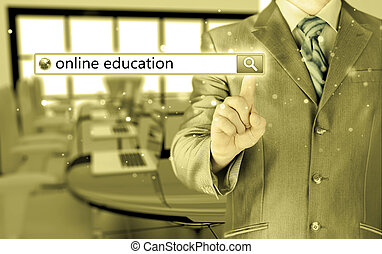 Online education written in search bar on virtual screen.