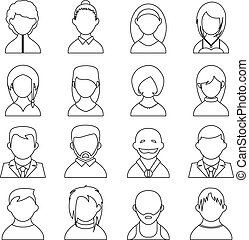 user icons - vector outline user icons, people black...