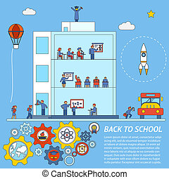 Vector Back to School Infographic Template - Seamless Vector...