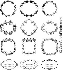 Vector Vintage Floral Ornamental Frames - Rounded Black...