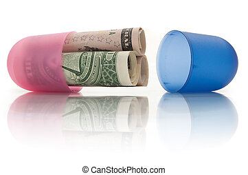 Healthcare costs - Open medicine pill with rolled up dollar...