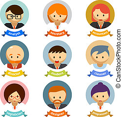 Office Cartoon Character Avatars with Ribbons - Variety...