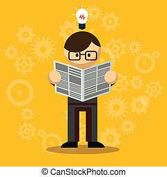 Vector Businessman Reading Newspaper