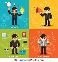 Businessmen Icons in Variety Colored Backgrounds - Four...