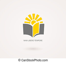 Education Concepts. Yellow and Gray Knowledge Icon with Book...