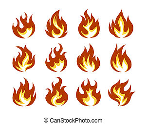 Vector Fire Flame Icon Set in Flat Style Isolated on White...