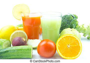 mezcla, jugos, frutas, vegetal