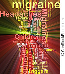 Migraine word cloud glowing - Word cloud concept...