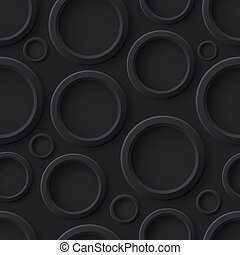 Black abstract seamless pattern with circles