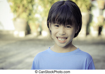 portrait of 6 year old asian girl - portrait of happy 6 year...
