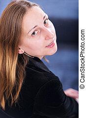 young woman portrait studio shot