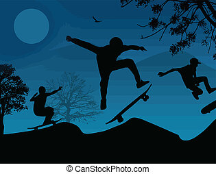 Skater silhouettes on blue