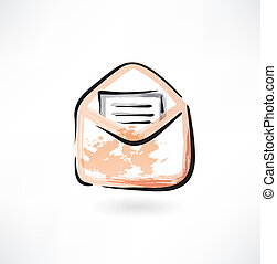 letter in an envelope grunge icon
