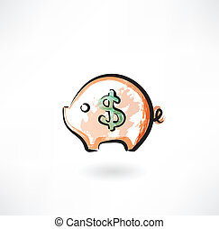 moneybox grunge icon