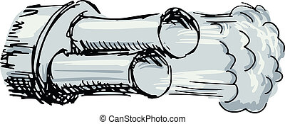 car exhaust pipe - sketch, doodle illustration of car...