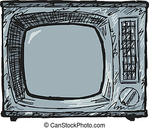 vintage TV set - sketch, doodle illustration of vintage TV...