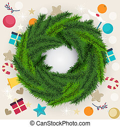 Circular Christmas wreath of pine or fir foliage - Circular...