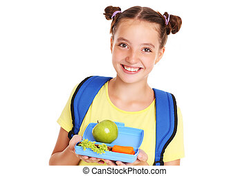 Happy girl with healthy lunchbox