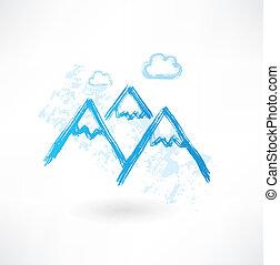 mountains grunge icon