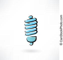 energy saving lamp grunge icon