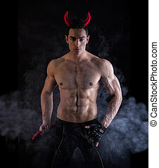 Sexy Young Man Wearing Devilish Horn Accessories - Sexy...