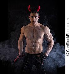 Sexy, joven, hombre, Llevando, diabólico, cuerno,...
