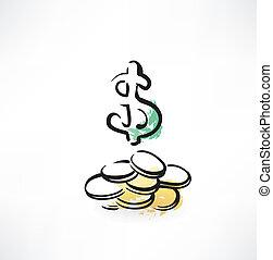 dollar coins grunge icon
